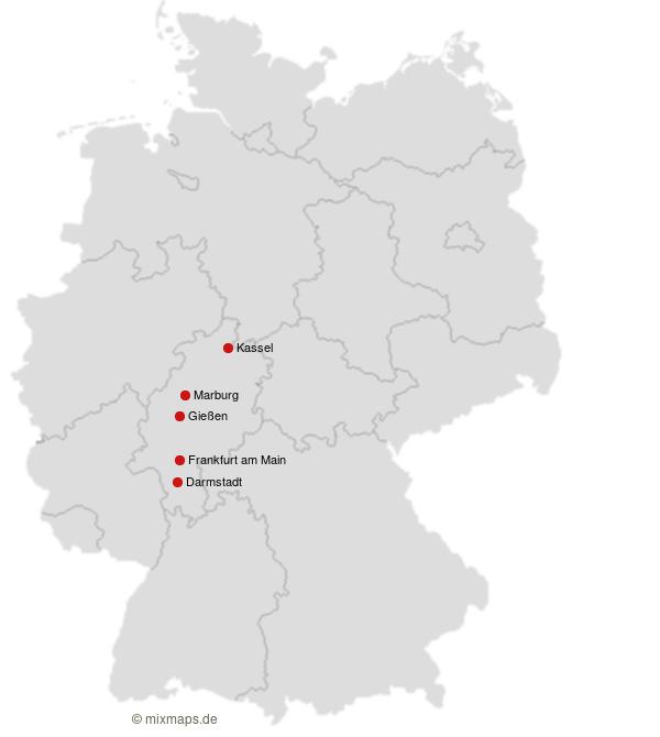 Hessische Universitatsstadte Auf Der Deutschlandkarte Landkarte
