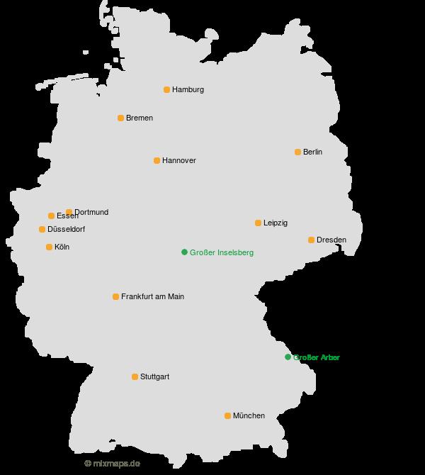 Der Grosse Inselsberg Und Der Grosse Arber Sowie Grossstadte Auf Der
