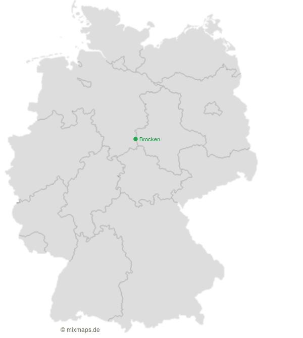 Der Brocken Im Harz Auf Der Landkarte Berge Auf Der