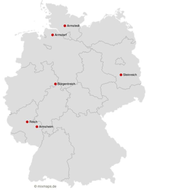 Deutschlandkarte Stadte Und Gemeinden Die Mit Arm Beginnen