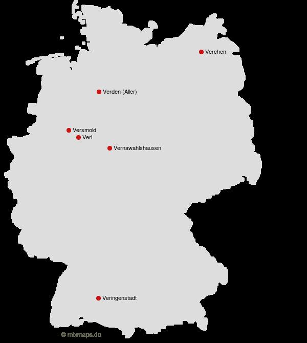 Deutschland Karte Städte.Städte Und Gemeinden In Deutschland Die Mit Ver Beginnen