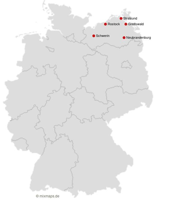 Greifswald Neubrandenburg Rostock Schwerin Und Stralsund Auf
