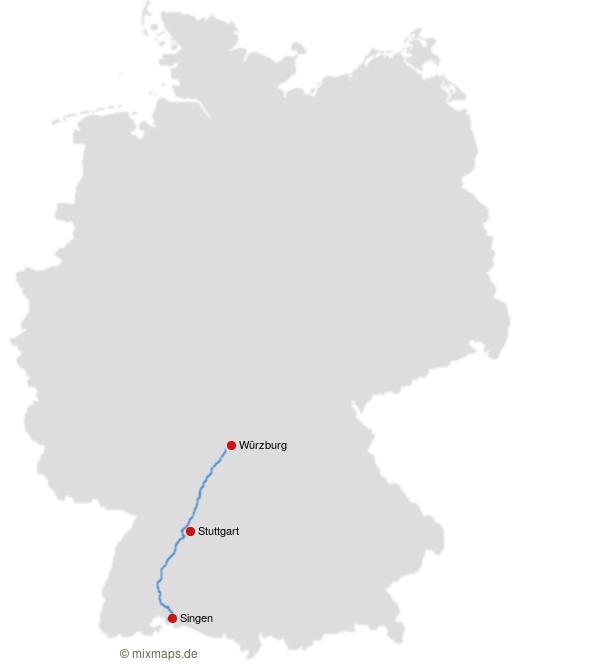 Wurzburg Stuttgart Und Singen An Der A81 Karte Mit Autobahnen