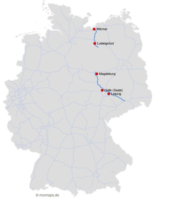 Halle Saale Karte.Leipzig Halle Saale Magdeburg Ludwigslust Und Wismar An